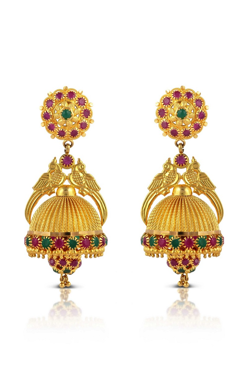 baroque jhumka enamel by plated buy product studio jewellery blue online gold earrings pink jewel traditional at